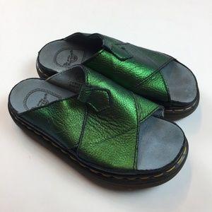 Dr. Martens Green Iridescent Slide Sandals US 9